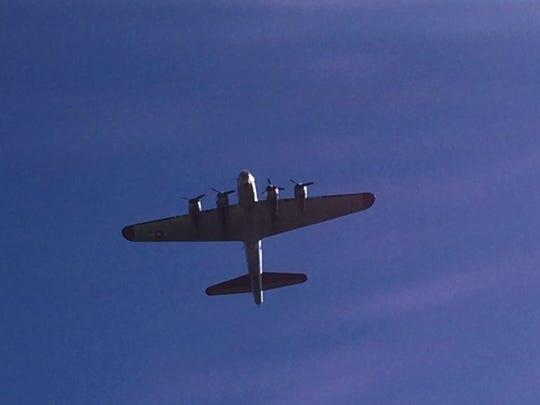 """A World War II B-17 """"Flying Fortress"""" bomber flies"""