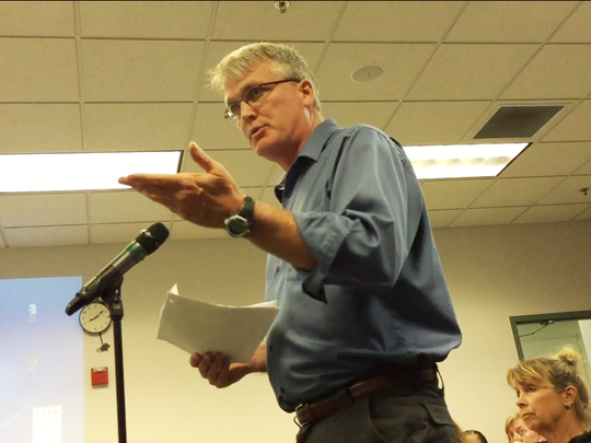 Shelburne resident Thomas Murphy, a former hazardous materials professional, disputes the merits of the town's new regulations for petroleum storage during a selectboard meeting on Tuesday, Sept. 12, 2017.