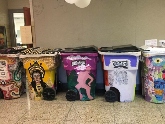Trash bins become decorated donation bins as duPont Manual High School students combine art and service