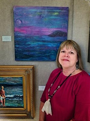 Joanne Crouch, the Artist of the Month for July for the North Augusta Artists Guild, works with encaustic, watercolor and acrylic with resin.