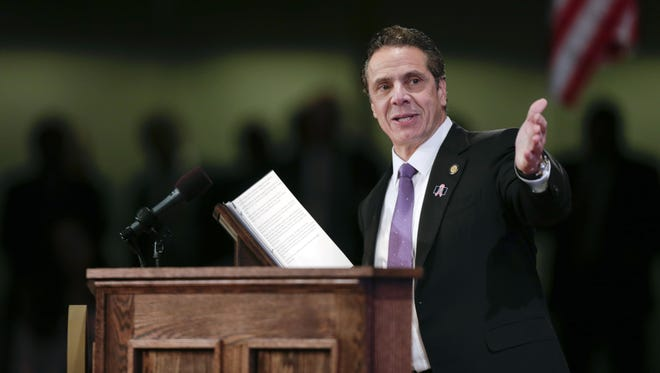 New York Gov. Andrew Cuomo delivers his State of the State address and executive budget proposal Wednesday at the Empire State Plaza Convention Center in Albany.