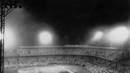 Archive photo of the first Major League Baseball night game on May 24, 1935 at Crosley Field. The Reds defeated the Phillies 2-1.