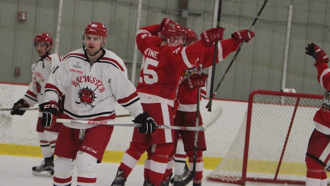 Port Huron celebrates after a goal from Justin Alonzo in the first period during a game against Brewster at the Brewster Ice Arena on Friday, March 18th, 2016. Port Huron won 6-0.