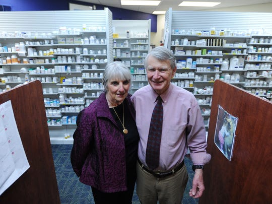 Francie and Tommy Rayfield are celebrating 40 years in business this month. The couple originally opened their independent, family-owned pharmacy in 1975 on Rogers Drive in Nassawadox, Va. A few years later they built a larger building on a lot across from the hospital where they still operate today.