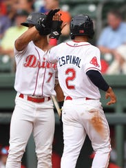 The Greenville Drives Santiago Espinal is met at home