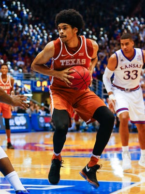 Texas Longhorns forward Jarrett Allen (31) drives to the basket during the first half of the game against the Kansas Jayhawks at Allen Fieldhouse. The Jayhawks won 79-67.