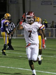 Crockett County defensive back Manny Jordan celebrates