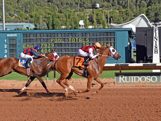 D E Lover (#7) was successful in his only Ruidoso Downs' start this summer.