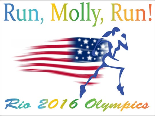 "This is what the lawn signs look for the ""Run, Molly, Run!"" campaign in support of Molly Huddle."