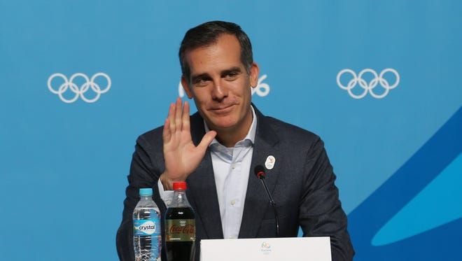 Los Angeles mayor Eric Garcetti during a LA2024 press conference during the Rio 2016 Summer Olympic Games on Aug. 9.
