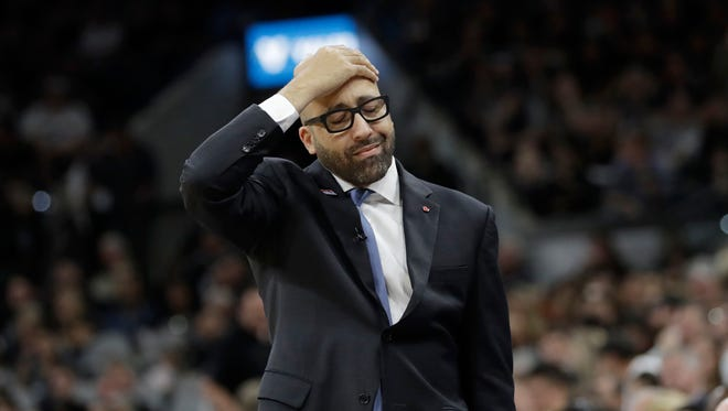 Memphis Grizzlies head coach David Fizdale reacts to a call during the second half in Game 1 of a first-round NBA basketball playoff series against the San Antonio Spurs, Saturday, April 15, 2017, in San Antonio.