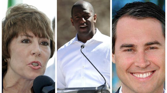 Democratic gubernatorial candidates Gwen Graham (left), Andrew Gillum (center) and Chris King.