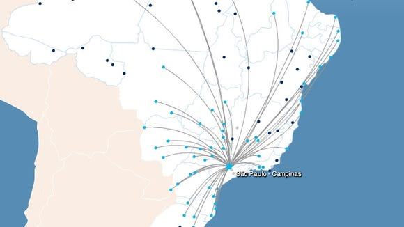 Azul's online route map shows its nonstop destinations