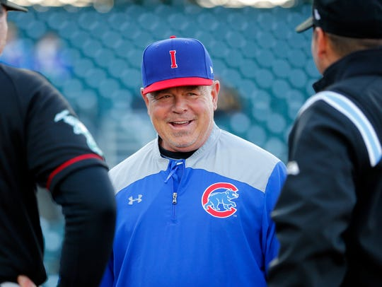 Iowa Cubs manager Marty Pevey has his team in first place in the PCL's American Northern division.