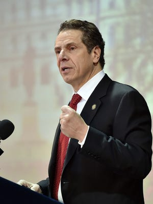 "Gov. Andrew Cuomo delivers his regional ""2015 Opportunity Agenda"" in February at Pascack Community Center in Nanuet. He spoke about taking action to renew the public's trust in state government."