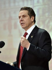 Gov. Cuomo, seen here speaking at Pascack Community Center, again finds himself at odds with the New York State United Teachers. This time it may cost him, experts say.