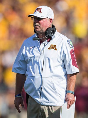 Sep 26, 2015; Minneapolis, MN, USA; Minnesota Golden Gophers head coach Jerry Kill looks on during the first half against the Ohio Bobcats at TCF Bank Stadium. Mandatory Credit: Jesse Johnson-USA TODAY Sports