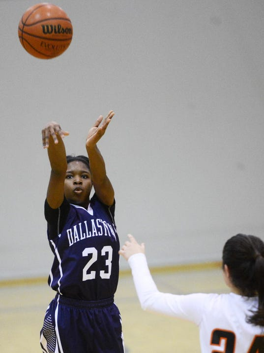 Dallastown's Debria Hendricks makes a 3-point shot during the girls' basketball game at Central York High School Tuesday, December 9, 2014. Dallastown won, 55-50 in overtime. (Kate Penn -- GameTimePA.com)