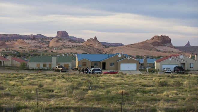 """Locals have nicknamed this Kayenta, Ariz., development """"Monopoly"""" because of the colors of the houses' roofs.  The development was financed by the Navajo Housing Authority."""