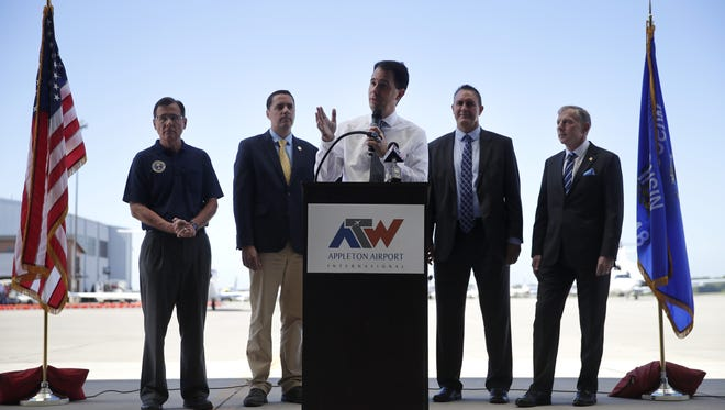 Gov. Scott Walker, speaking to a group of business and education executives at Appleton International Airport in Greenville, says Wisconsin is ready for Foxconn Technology Group's massive manufacturing campus.