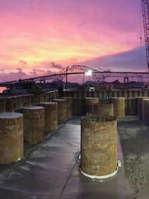 Construction crews work on the new Harbor Bridge project.