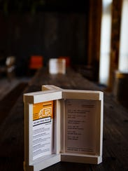 Menu's sit on the tables of The Hall inside The Foundry