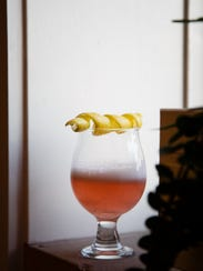 The Clover Club cocktail is seen at The Hall in side