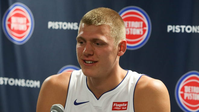 Pistons' Henry Ellenson talks with reporters at media day Sept. 25, 2017 at the Palace in Auburn Hills.