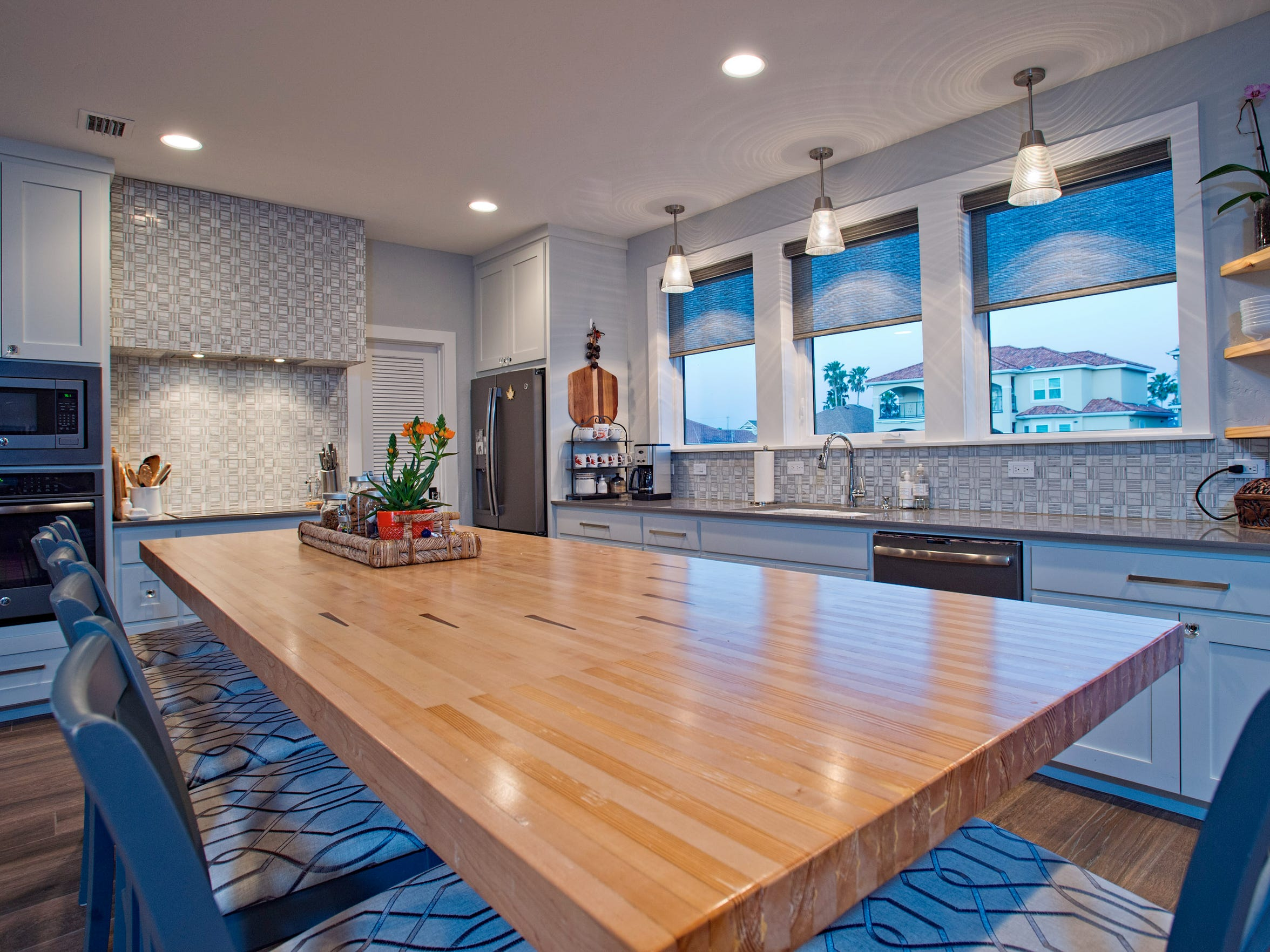 The kitchen island was created by Herb Lancaster from