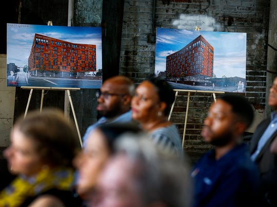 A crowd gather as Carlisle Corp. reveals plans for One Beale, a 227-room Hyatt Centic hotel project slated to go up at the foot of Beale at the former Ellis Machinery building.