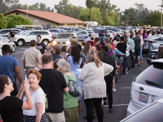 Voters waited in line at Pilgrim Evangelical Lutheran