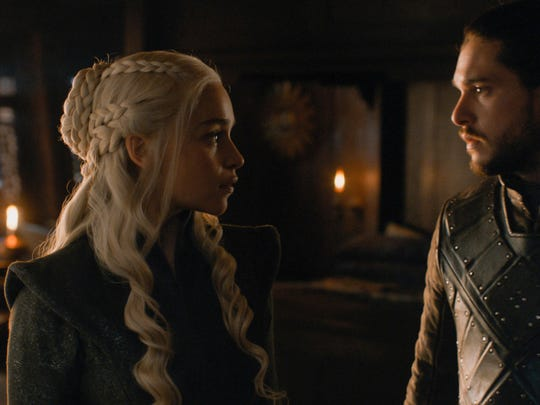 "Emilia Clarke and Kit Harington in an episode of the HBO drama ""Game of Thrones,"" which has been nominated for 22 Emmy Awards."