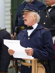 Brian Bibeau portrays Brigadier General Edward McCook reading the Emancipation Proclamation at the 2013 Emancipation Day celebration at the Knott House.