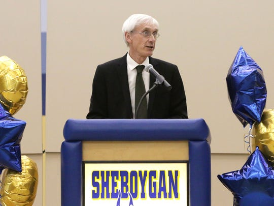 State Superintendent Tony Evers speaks during a ceremony May 4 in Sheboygan, Wis.