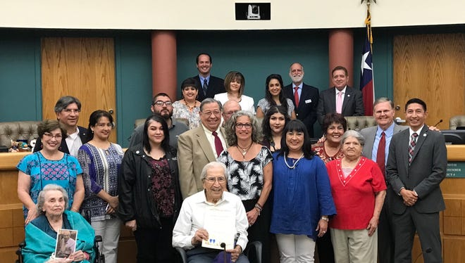 Felix Longoria and his family celebrated a city proclamation in his honor during a regular meeting on May 23, a day before his 96th birthday.