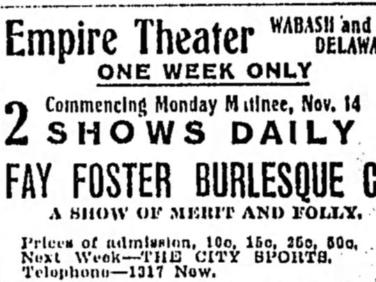 Nov. 14, 1904 Indianapolis Star ad for Empire Theater