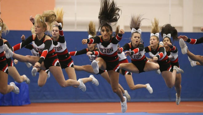 Hilton competes during the 2017 Section V fall cheerleading championships at RIT.