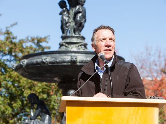 Lt. Gov. Phil Scott, pictured Oct. 3 in St. Albans, is one of two Republican candidates for governor, with Bruce Lisman.