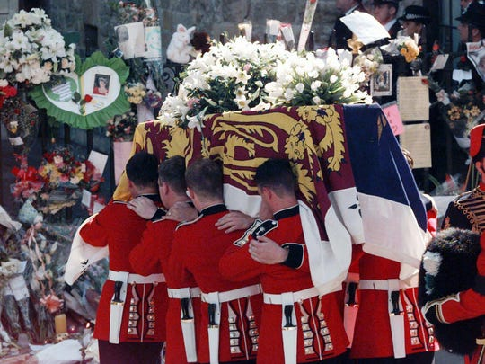 The coffin of Princess Diana is carried into Westminster