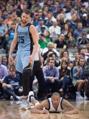 Memphis Grizzlies forward Chandler Parsons (25) reacts to being called for an offensive foul against Dallas Mavericks guard Devin Harris (34) during the second quarter at the American Airlines Center on Friday, March 3, 2017.