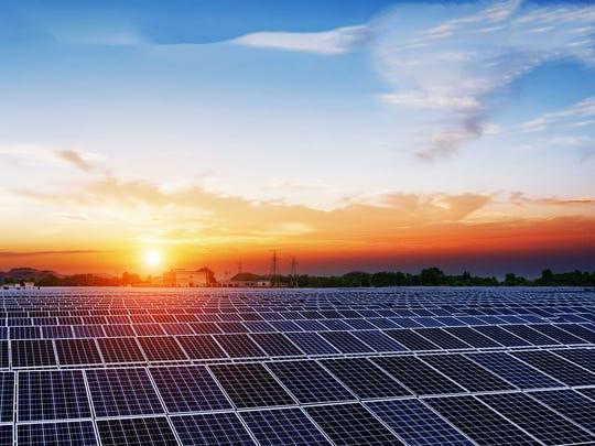 A field of solar panels