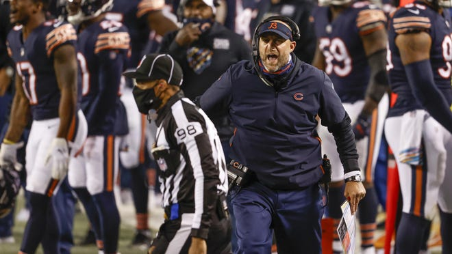 Chicago Bears coach Matt Nagy protest a call against his team during a game against the Tampa Bay Buccaneers on Thursday in Chicago.