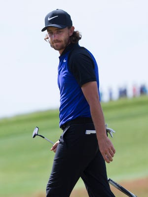 Tommy Fleetwood looks back after missing a birdie putt on the ninth hole during the second round of the U.S. Open golf tournament Friday, June 16, 2017 at Erin Hills in Erin, Wis. He went on to par the hole.