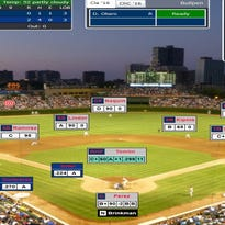 A screenshot of Jorge Soler's fourth-inning home run in Game 3 of USA TODAY Sports' annual Simulated World Series.