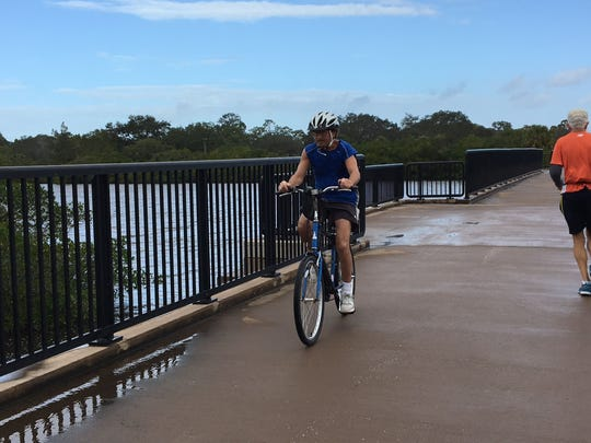 Venice, Florida's, Legacy Trail boasts waterfront views for bicyclists and pedestrians,  such found on this bridge over Roberts Bay. The trail will be part of the planned Gulf Coast trail network.