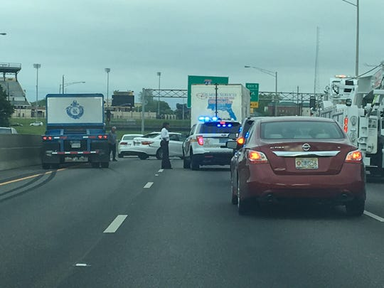 Two lanes blocked on I-85 past Ann Street following a Monday morning accident.