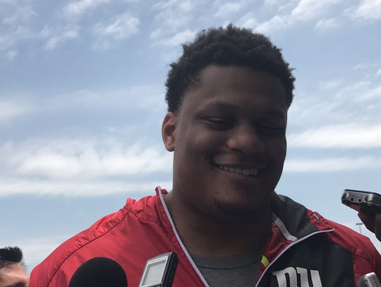 Giants left tackle Ereck Flowers speaks to reporters