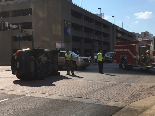 A car overturned in downtown Shreveport on Monday.