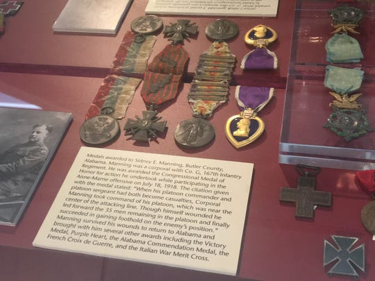 Medals and decorations of the men of the 167th Alabama National Guard and the Rainbow Division located inside the Alabama Department of Archives and History.