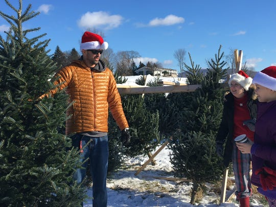 Seth Shamp displays a Christmas tree contender to his mother, Nancy Shamp, center, and his daughter, Izzy Shamp, 10, at Whites Tree Farm in Essex on Sunday, Dec. 17, 2017.